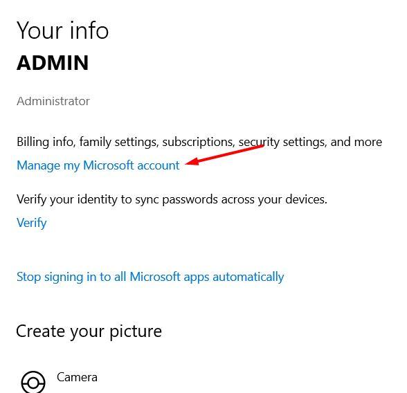 manage my Microsoft account
