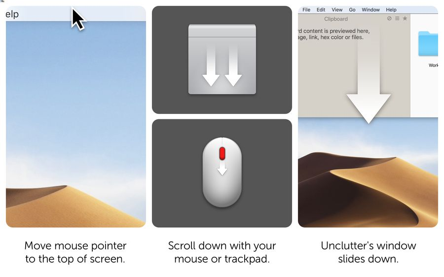 trackpad gestures for Unclutter App